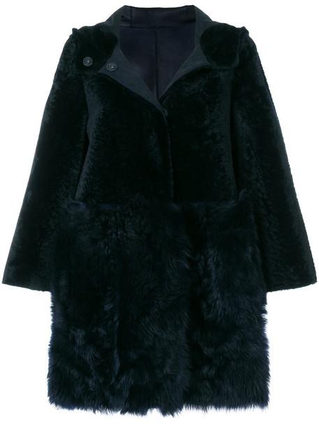 coat short fur women blue