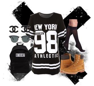 shirt new york city long shirt shirt dress black and white nycfashion ain't no wifey chanel accessories knee high socks timberlands