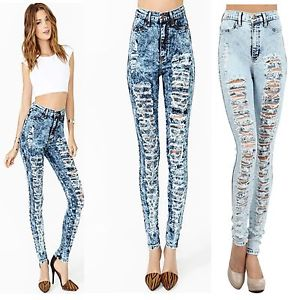 New High Waisted Acid Mineral Wash Destroyed Distressed Skinny Jeans Denim Pants | eBay