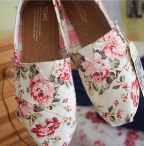 shoes toms floral cute
