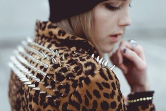 jacket print leopard print studs