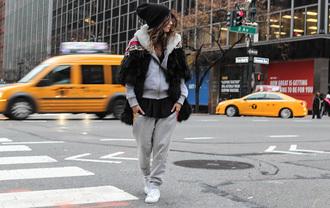 madame rosa blogger grey sweatpants comfy beanie jumpsuit t-shirt coat shoes hat