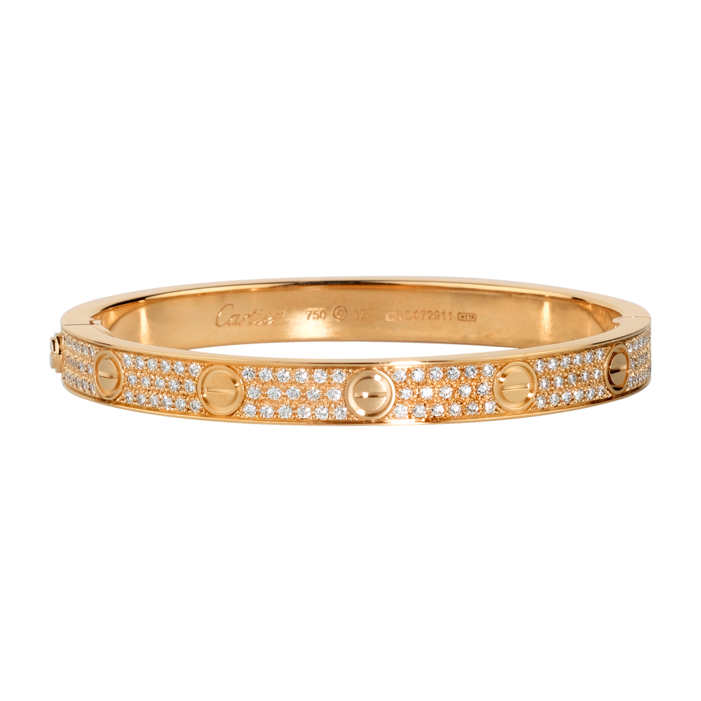 Love Bracelet Pink Gold Diamonds Fine Bracelets For