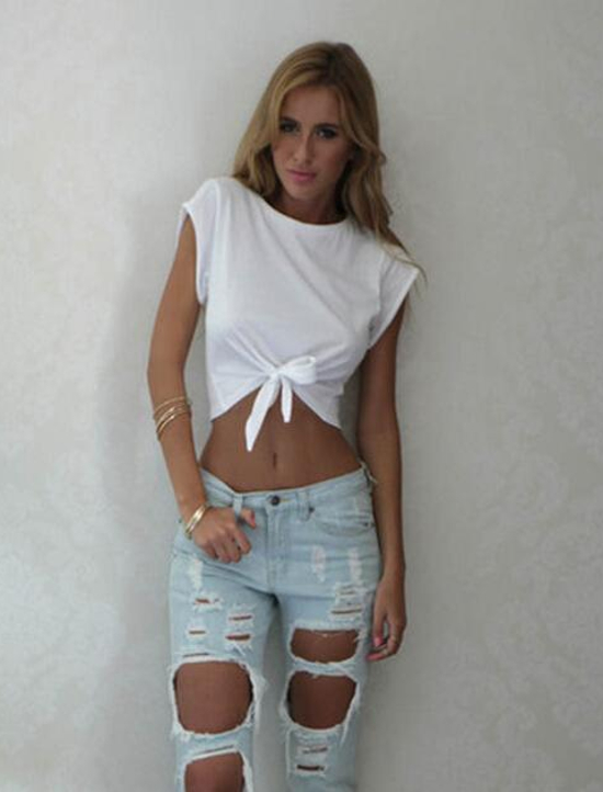 Women's Short Sleeve Punk Cropped Top