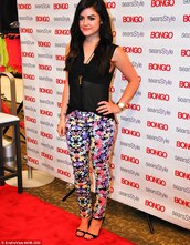 jeans,lucy hale,floral,Pop Couture,pretty little liars,floral jeans,aria montgomery
