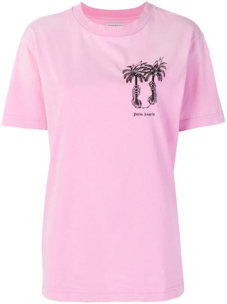 Palm Angels t-shirt shirt t-shirt women tree palm tree cotton purple pink top