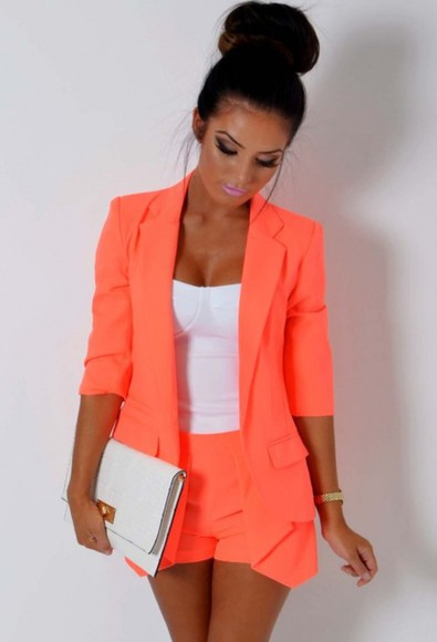 orange neon coats top short buns hair