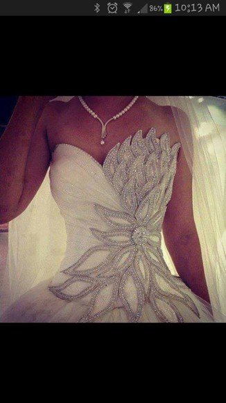 dress wedding deb debutante leaf leaves sparkle cute fashion bride formal swan animal frill frabric jewelry