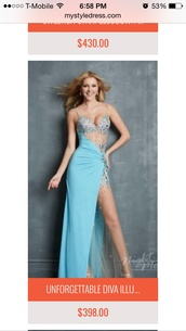 dress,blue mesh long bedazzled