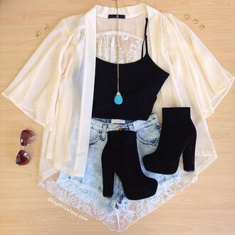 boots booties suede heels chunky cardigan kimono lace