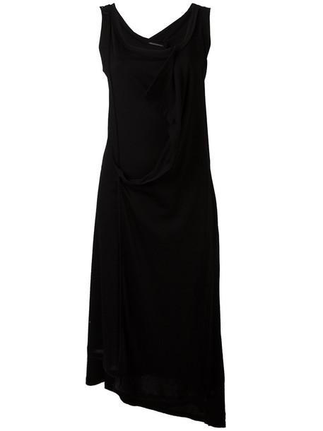 YOHJI YAMAMOTO dress women midi layered cotton black