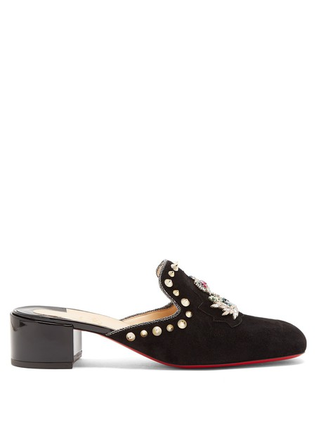 christian louboutin sun embellished mules gold black shoes