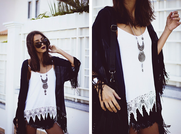 top cami top\ cami top hipster top white top denim shorts kimono hipster streetstyle stylemoi swag fringes