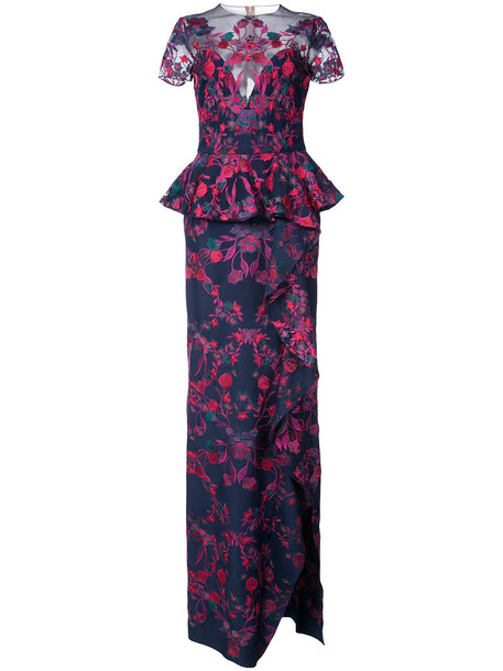 Marchesa Notte dress maxi dress maxi embroidered women floral blue