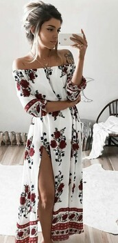 dress,long dress,bohemian maxi dress,white floral dress,white dress,floral dress,boho dress,floral,floral maxi dress,maxi dress,off the shoulder,flowy,summer dress,flower dress cute floral summer red,roses off shoulder,a flower dress,blouse,flowers,grey roses,white,summer,clothes,red,roses,white red floral,pattern,flower dress boho