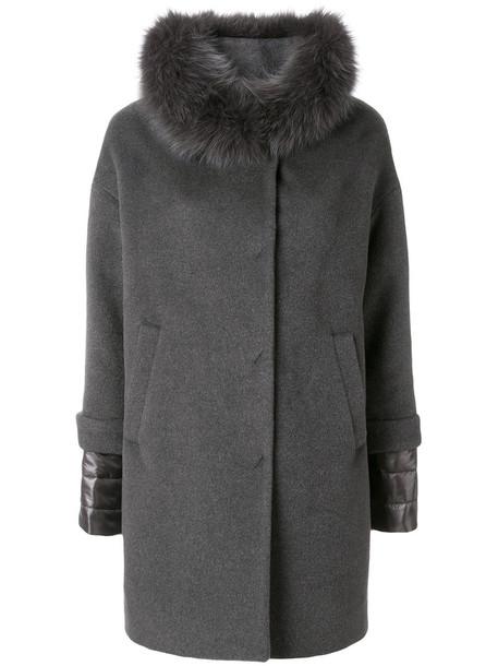 Herno coat fur collar coat fur fox women silk wool grey