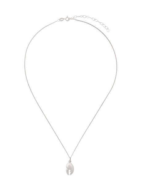 women necklace silver grey metallic jewels