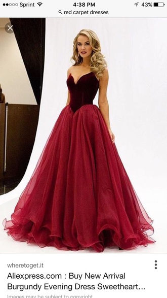 dress burgundy red carpet dress prom dress gown