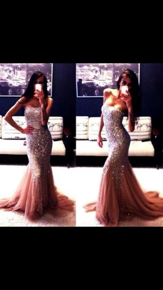 strapless sparkles long champagne dress mermaid style form fitting