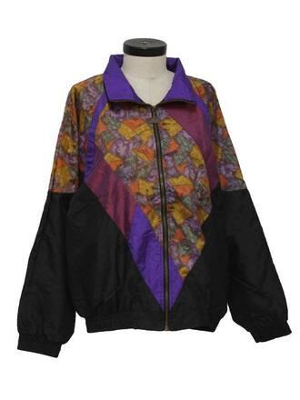 jacket windbreaker 90s style old school pattern black jacket collar long sleeves vintage vintage jacket vintage sweater sweater old fashion 80s style