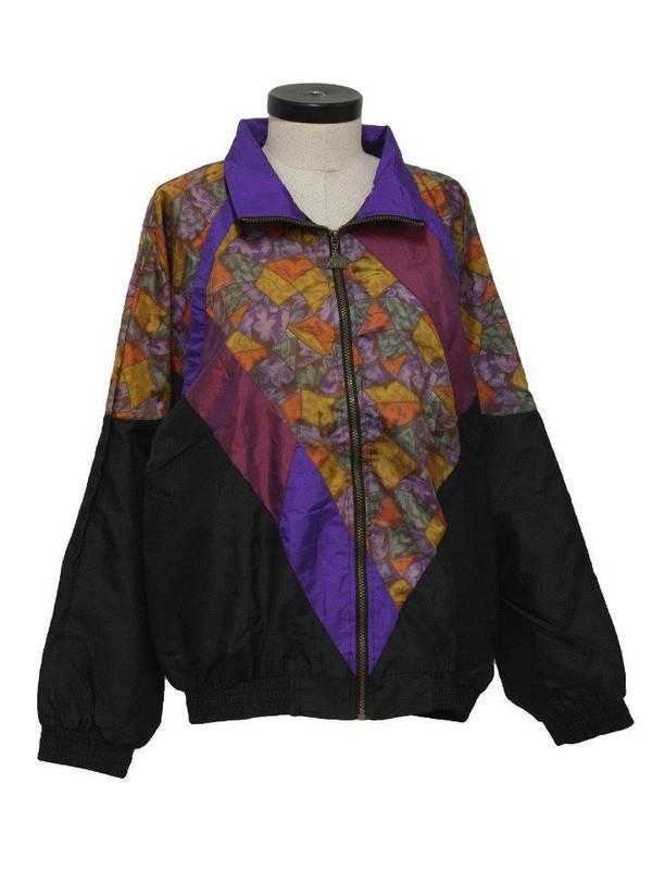 Jacket: windbreaker, 90s style, old school, pattern, black jacket ...