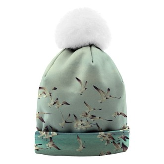 coat hat bonnet bonnet pompons bonnet hollister green dress seagulls white nice winter outfits