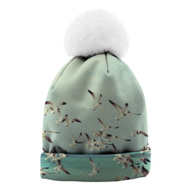 coat hat bonnet bonnet pompons bonnet hollister green dress seagulls white nice winter outfits