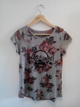 t-shirt grey t-shirt roses spring rocker