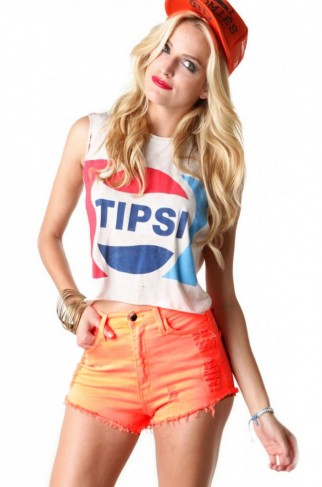 Neon high waist cutoffs in orange