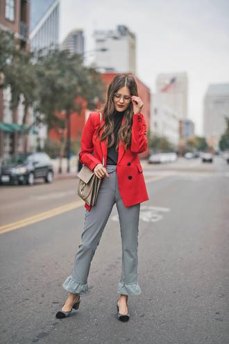 pants tumblr grey pants blazer red blazer slingbacks pumps bag crossbody bag top black top