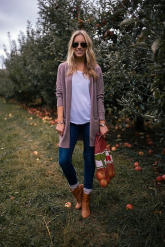 katie's bliss - a personal style blog based in nyc blogger cardigan jeans shoes sweater socks sunglasses jewels fall outfits ankle boots boots