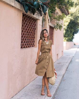 top skirt tumblr ruffle sleeveless sleeveless top matching set midi skirt nude skirt button up button up skirt sandals flat sandals gladiators shoes bag j crew