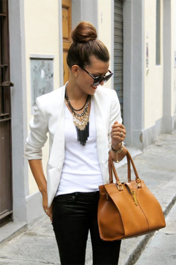 jewels necklace jacket top sunglasses bag coat blazer white modern day classic