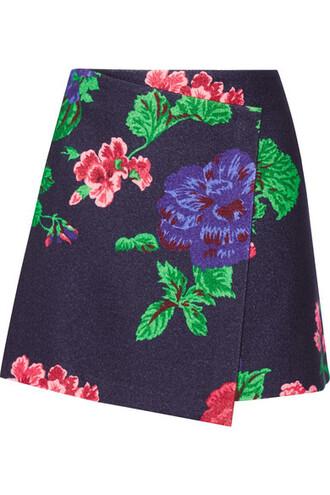 skirt mini skirt mini floral navy print wool