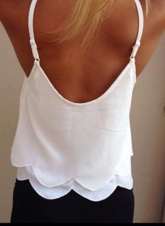 tank top white scalloped chiffon scalloped edges straps chiffon blouse