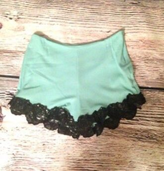 green shorts high waisted shorts mint green shorts black lace trim floral applique shorts www.ustrendy.com