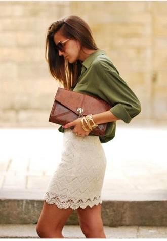 bag clutch lace skirt shirt skirt