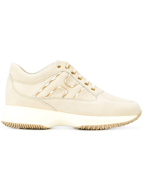 Hogan women sneakers leather nude suede shoes