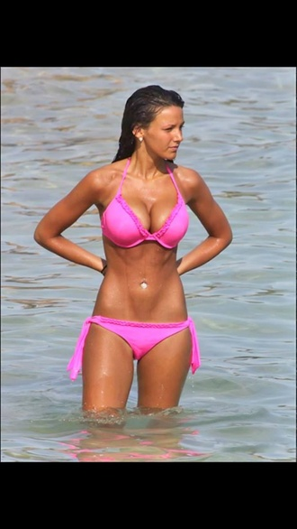swimwear pink bikini celebrity style michelle keegan gorgeous bikini pink bright pink celebrity beach
