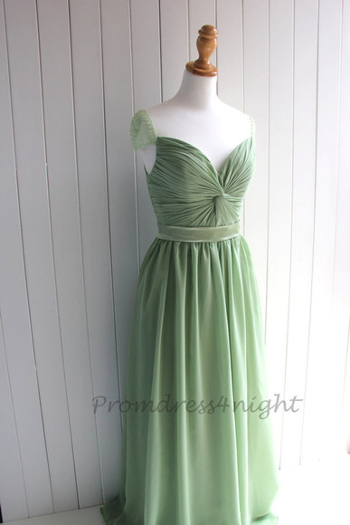 cap sleeves sage formal dress mint formal dress mint prom dress long prom dress formal prom dress v neck sage chiffon dress chiffon long gown sage gown evening dress bridesmaid dress sage mint bridesmaid dress mint prom