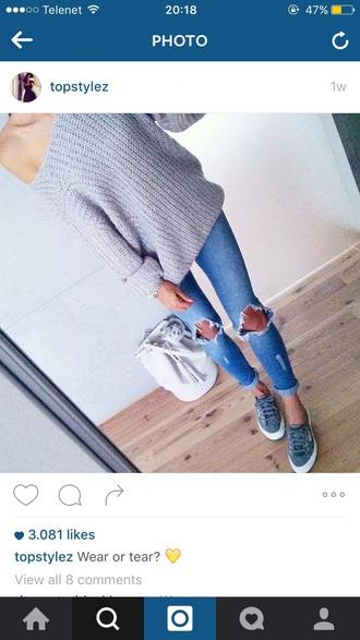 sweater grey blue warm woven