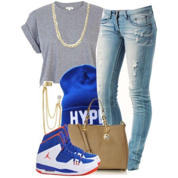 shoes hype jordans chain handbag tam crop tops t-shirt