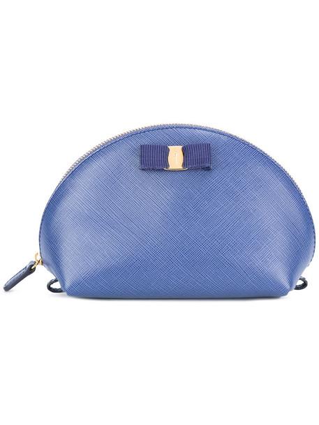 Salvatore Ferragamo logo make-up case, Blue, Silk/Leather