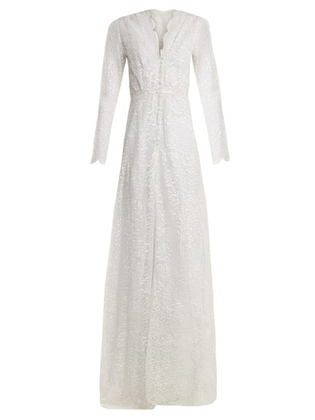LUISA BECCARIA gown lace floral silver dress
