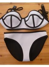 Neoprene paneled bikini