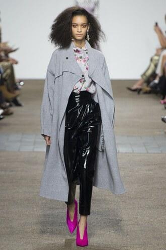 coat pants topshop unique blouse runway london fashion week 2016 grey coat