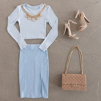 top crop tops blue baby blue nude heels nude high heels quilted bag bag purse pencil skirt slit skirt gojane