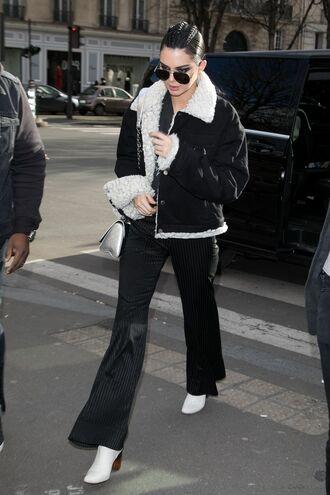 jacket pants kendall jenner kardashians sunglasses shoes boots streetstyle paris fashion week 2017 fashion week 2017