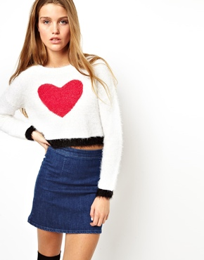 ASOS | ASOS Fluffy Crop Heart Sweater at ASOS