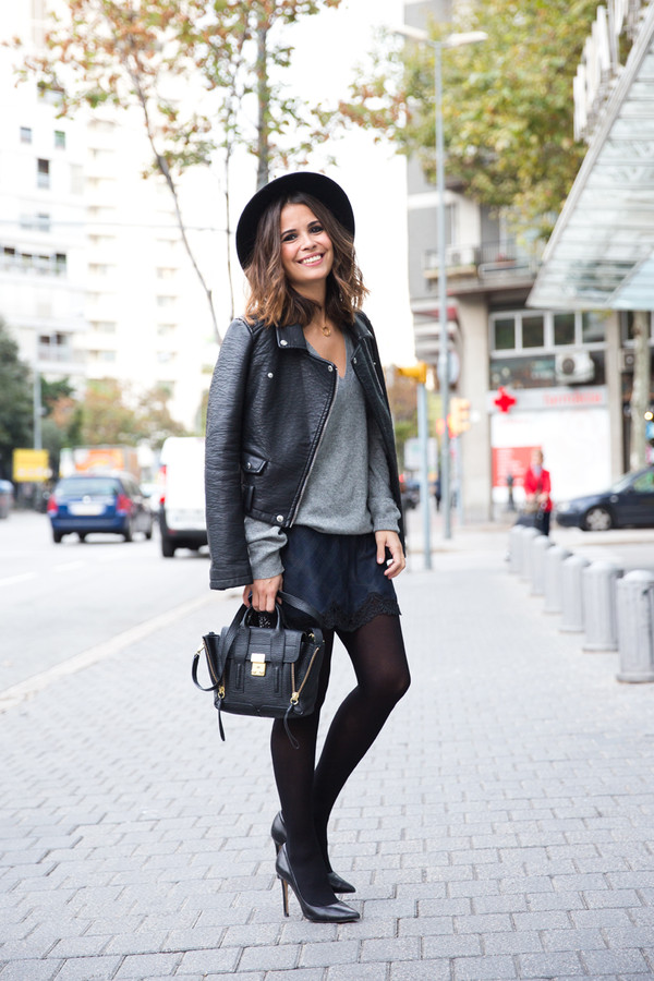 collage vintage dress hat shoes jacket bag t-shirt jewels pashli blue lace skirt pashli satchel mini satchel bag phillip lim phillip lim satchel black satchel black pumps court shoes grey sweater leather jacket black stilettos black stockings lace skirt black hat streetstyle